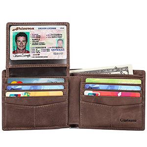 best gintaxen mens gunuine leather bifold wallet