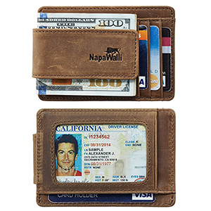 best napawalli genuine leather magnetic money clips with card holder